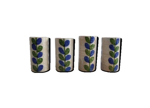 4 mugs vintage en céramique à motif floral des années 60