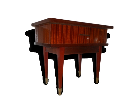 grande table de chevet vintage bois vernis et pieds m tal. Black Bedroom Furniture Sets. Home Design Ideas