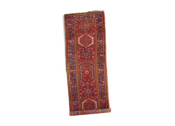 tapis ancien persan karajeh fait main 108cm x 330cm 1920s tissu rouge dans son jus. Black Bedroom Furniture Sets. Home Design Ideas