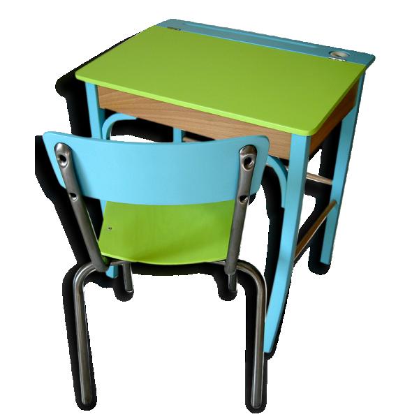 pupitre et chaise d 39 colier bois mat riau vert bon tat vintage 69683. Black Bedroom Furniture Sets. Home Design Ideas