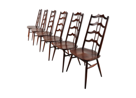 Lot de 6 chaises de salon mid century en bois lasur par lucian ercolani pour - Lot de 6 chaises en bois ...