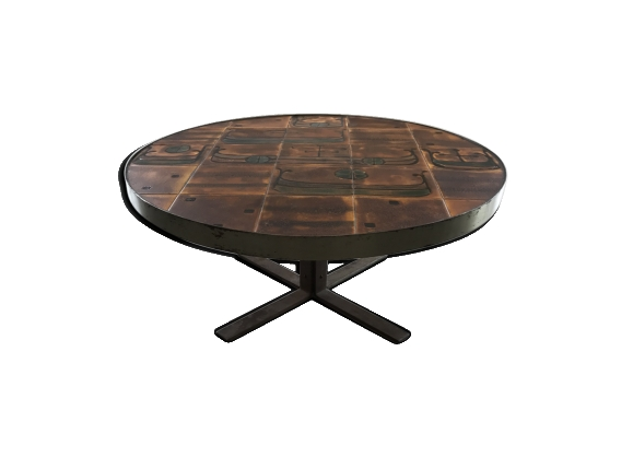 Table ronde ceramique seventies motif drakkar