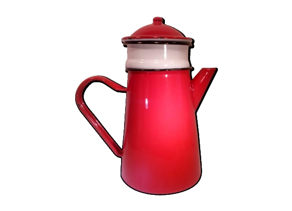 Cafetière émaillée rouge et blanche 'complète '