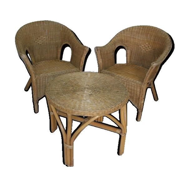 salon en osier rotin et osier bois couleur dans son jus vintage. Black Bedroom Furniture Sets. Home Design Ideas