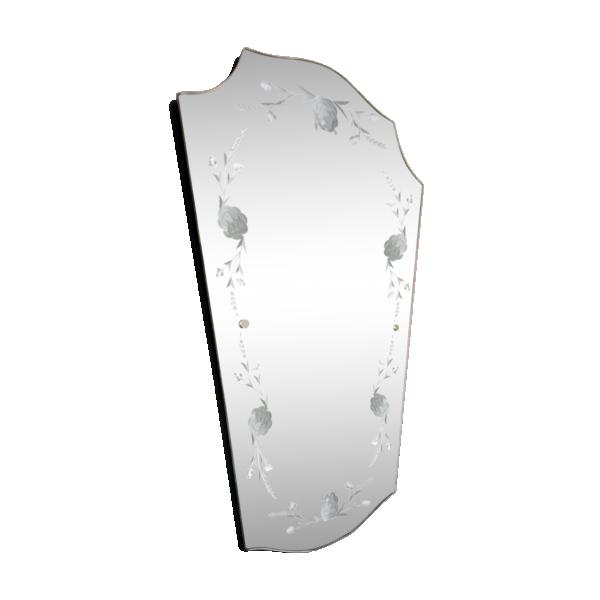 Miroir biseaut vintage ann es 50 verre et cristal for Miroir annees 50