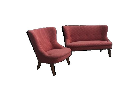 Ensemble sofa et 2 fauteuils années 50-60