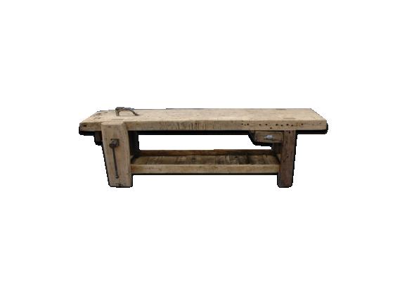 etabli de menuisier en bois massif avec tau bois mat riau marron bon tat vintage. Black Bedroom Furniture Sets. Home Design Ideas