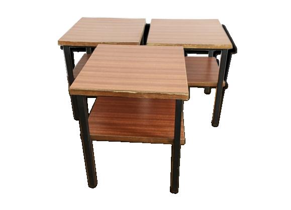 tables basses d appoint en formica 1960 formica marron dans son jus vintage. Black Bedroom Furniture Sets. Home Design Ideas
