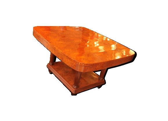 Table de salle à manger Art Deco en ronce de noyer (cat: table art déco 1930)