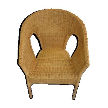 fauteuil chauffeuse en rotin et osier vintage d 39 occasion. Black Bedroom Furniture Sets. Home Design Ideas