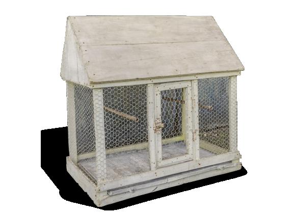 voli re ancienne cage oiseaux en bois et grillage. Black Bedroom Furniture Sets. Home Design Ideas