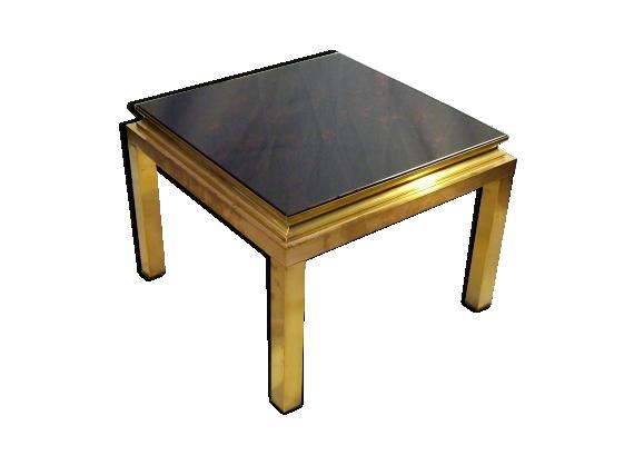 Table basse carrée métal et verre