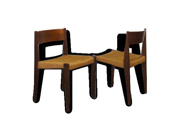 4 chaises en teck et assise en corde tressée naturelle. - bois ... - Chaise Corde Tressee