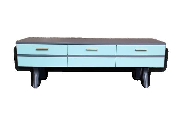 Meuble bas tv vintage 6 tiroirs bleu et gris bois for Meuble bas tv gris