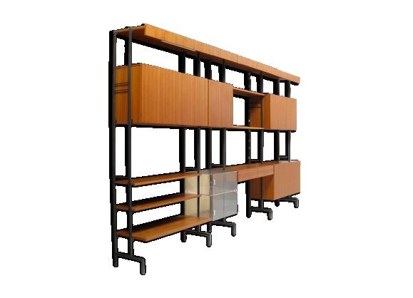 Bibliothèque modulable teck et métal scandinave