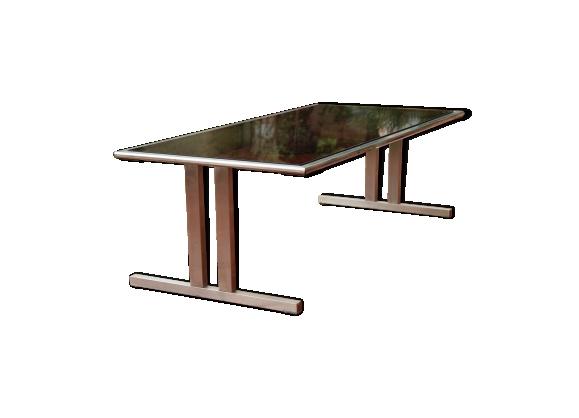 Table verre et acier brossé années 70
