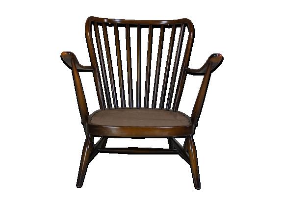 v ritable fauteuil ann es 50 60 maison ercol avec coussins bois mat riau bois couleur. Black Bedroom Furniture Sets. Home Design Ideas