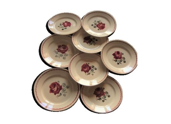 Lot de 8 assiettes à dessert Badonviller de 1923 Art Déco fleurs rouge vert
