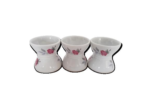 3 coquetiers diabolo porcelaine blanche décor floral