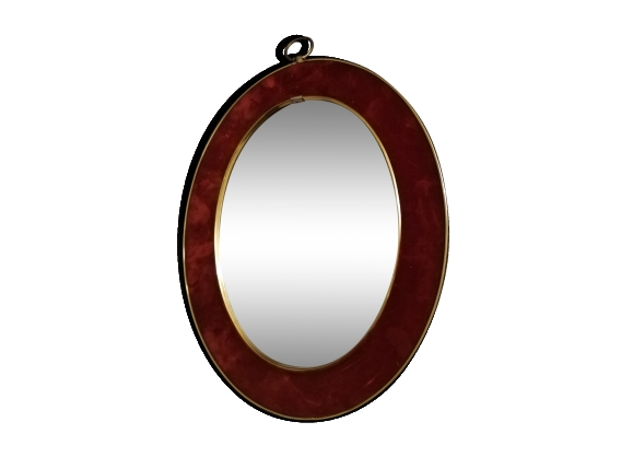 Miroir ovale marge velours flocage rouge vintage