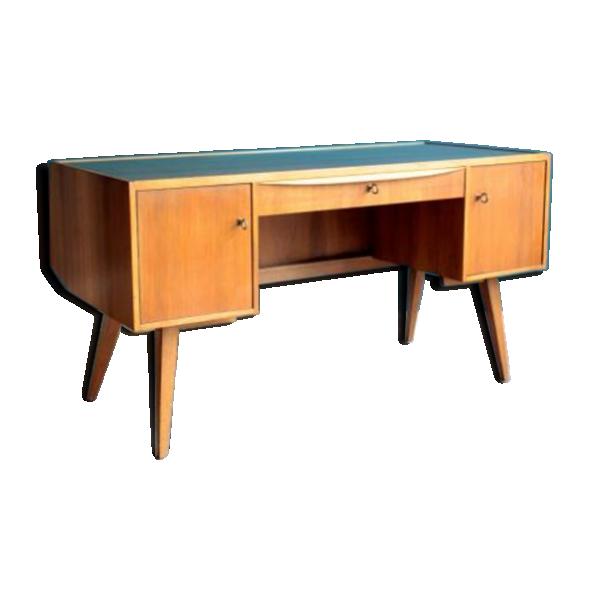 bureau avec dessus en verre bois mat riau bois couleur bon tat vintage. Black Bedroom Furniture Sets. Home Design Ideas