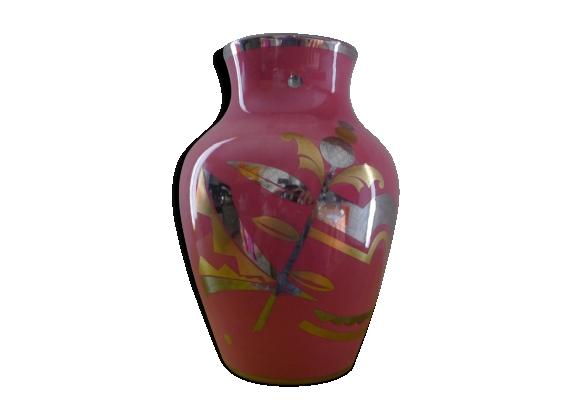 Vase art déco motif feuillages et fleurs argent et or