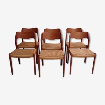 Série de six chaises danoises de Niels Otto Moller