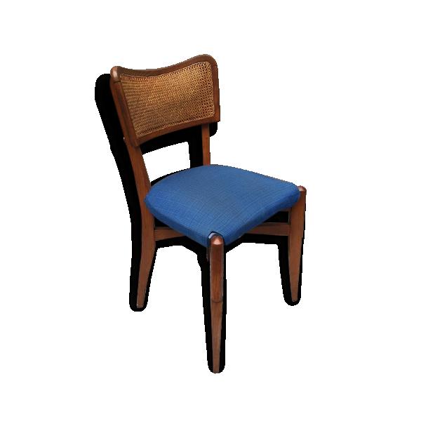 chaise en bois ann es 50 en cannage bois et tissu bois mat riau bleu bon tat vintage. Black Bedroom Furniture Sets. Home Design Ideas