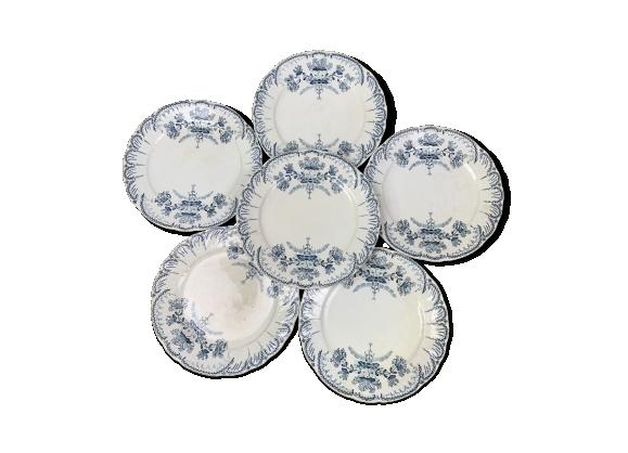 Lot de 6 assiettes plates Saint Amand modèle Régence