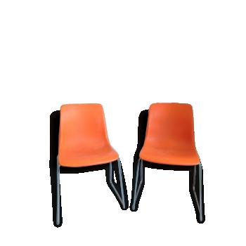2 Chaises traineau orange années 70