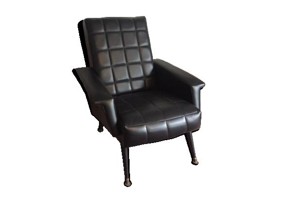 fauteuil vintage ska noir ann es 70 ska noir bon tat vintage. Black Bedroom Furniture Sets. Home Design Ideas