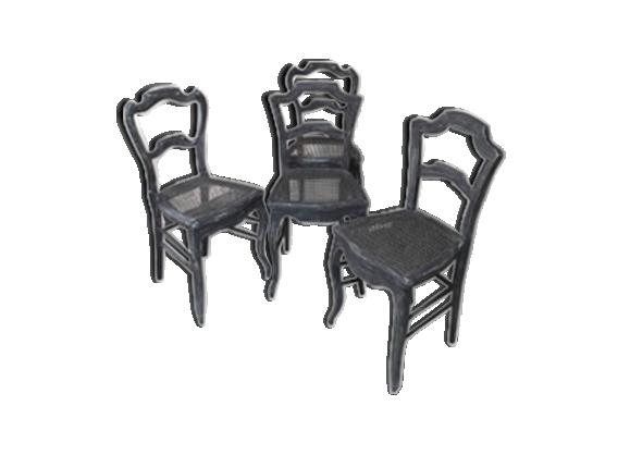 lot de 4 chaises cann es bois mat riau gris bon tat vintage. Black Bedroom Furniture Sets. Home Design Ideas