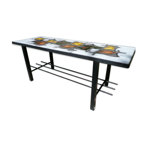 Table basse ann es 70 en fonte et c ramique c ramique - Table basse multicolore ...