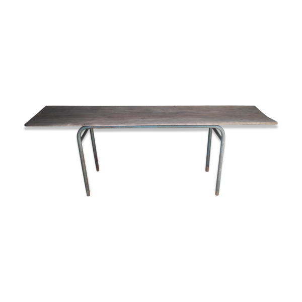 longue table console chene massif et metal ep 1950 m tal bois couleur dans son jus. Black Bedroom Furniture Sets. Home Design Ideas