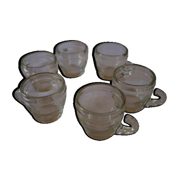 ensemble de 8 tasses caf verre et cristal transparent bon tat vintage. Black Bedroom Furniture Sets. Home Design Ideas