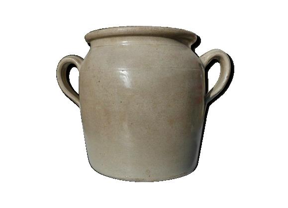 Pot ou jarre en grès beige émaillé