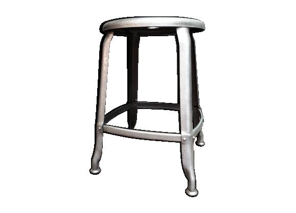 ancien tabouret nicole en m tal d cap m tal argent couleur bon tat industriel. Black Bedroom Furniture Sets. Home Design Ideas