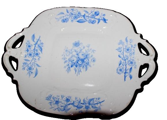 Plat carré fleurs bleues porcelaine anglaise