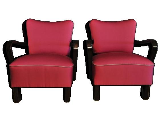 Paire de fauteuils Cocktail années 50 refaits à neuf