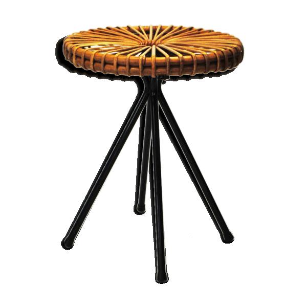 tabouret van sliedregt rotin et osier marron bon. Black Bedroom Furniture Sets. Home Design Ideas