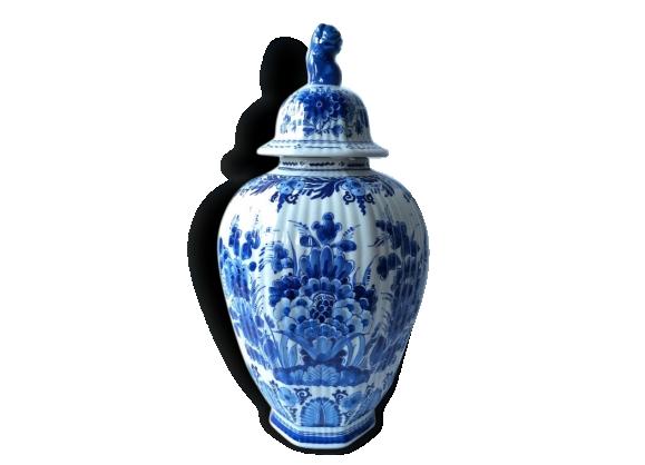Original porcelaine bleu de Delft , pot à couvercle, Porcelaine collection bleu de Chine