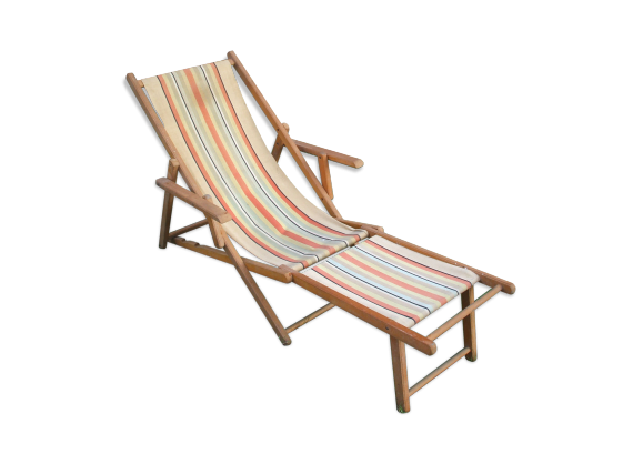 chaise de plage pliante bois mat riau multicolore bon tat vintage. Black Bedroom Furniture Sets. Home Design Ideas