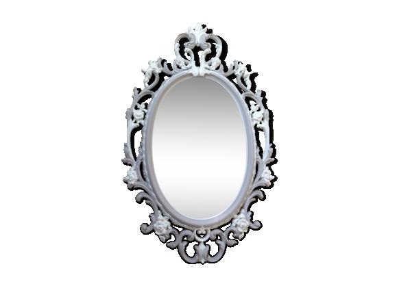 Grand miroir m daillon baroque plastique gris bon for Grand miroir gris
