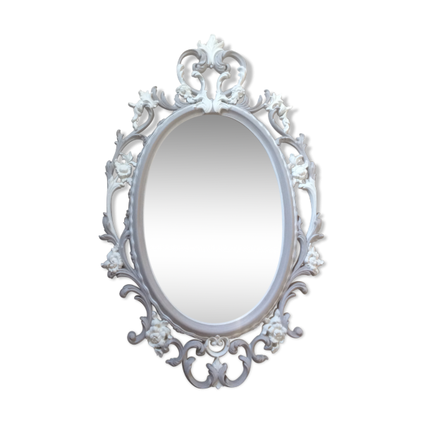Grand miroir m daillon baroque plastique gris bon for Miroir baroque gris