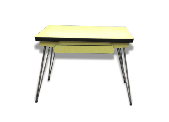 table en formica pieds eiffel formica jaune bon tat vintage 18937. Black Bedroom Furniture Sets. Home Design Ideas
