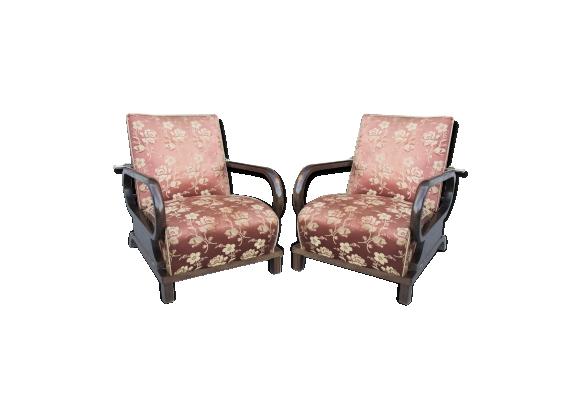 Paire de fauteuils en hêtre avec dossiers réglables - art déco - 1930