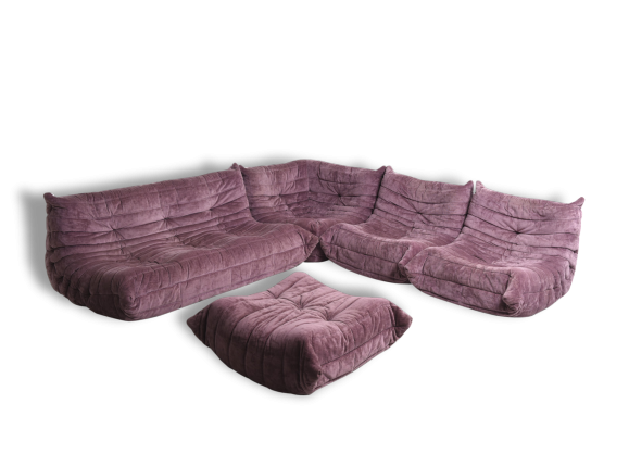 canap togo tissu violet bon tat design. Black Bedroom Furniture Sets. Home Design Ideas