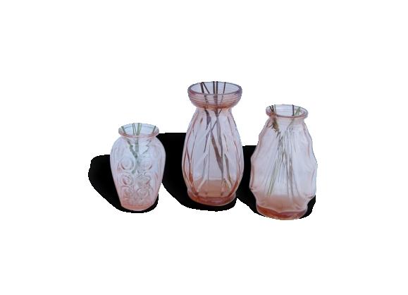 Lot de 3 vases en verre vieux rose