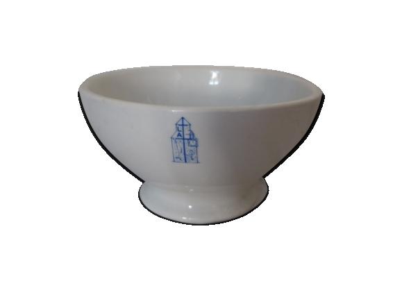 Bol ancien en porcelaine blanche à deco bleu