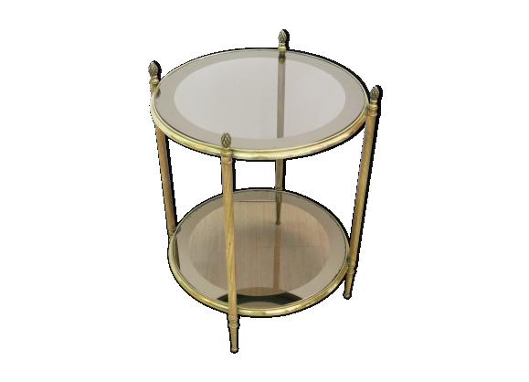 Table d 39 appoint en laiton et verre 1960s laiton dor bon tat vintage - Table d appoint dore ...